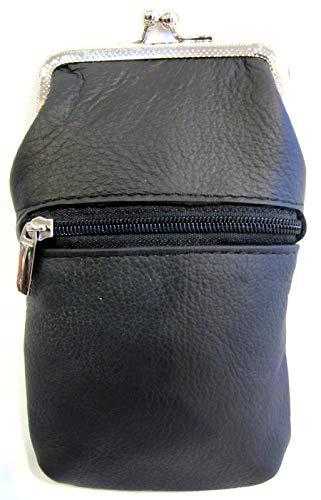 Women 100% Pure Leather Cigarette Case Lighter Match Pocket Zipper Coin Pouch -4 Color (Black)