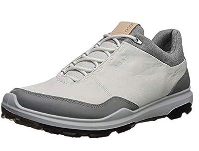 ECCO Men's Biom Hybrid 3 Gore-Tex Golf Shoe, White/Black Yak Leather, 9-9.5