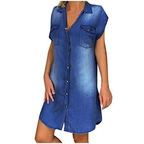 TWIFER Damen Sommer Kleider Denimkleid Übergröße Sommerkleid Casual Hemdblusenkleid Tunika Hemd Kleid Loses Minikleid Knielanges Kurzarm Jeanskleid