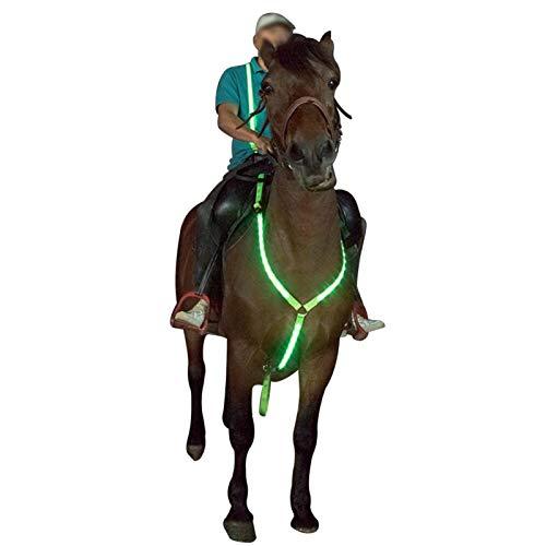 POHOVE LED-Pferdegeschirr, verstellbare Sichtbarkeit, zum Reiten, batteriebetrieben, LED-Pferdgeschirr, Sicherheitsausrüstung für Nachtreiten, Shows macht das Pferd gesehen
