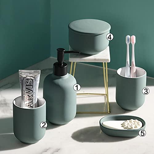 Ldd Artículos de baño de cerámica Cuarto de baño Rosa Conjunto de Cuatro Piezas 2 Tazas de Enjuague bucal/Bandeja de jabón/Frasco de Lavado/Conjunto de Accesorios de baño