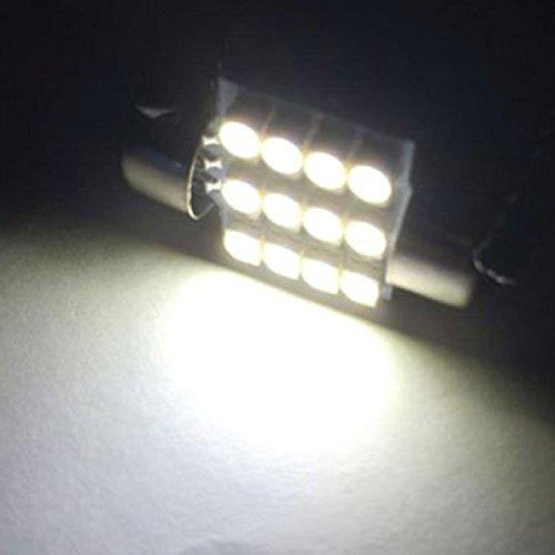 """Jtech 4x 31mm (1.25"""") 12-SMD LED Bulb Festoon White Light. DE3175 DE3021 DE3022 3175"""