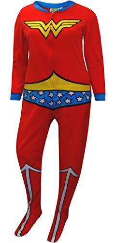 Briefly Stated Women's Wonder Woman Fleece Junior Cut One Piece Footie Pajama (Medium) Red