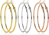 3 Pairs Clip On Earrings 60mm Big Hoop Earrings Set Non Piercing Earrings for Women Girls Gold Plated Rose gold Silver Hypoallergenic Hoop earrings (60mm-2.36')