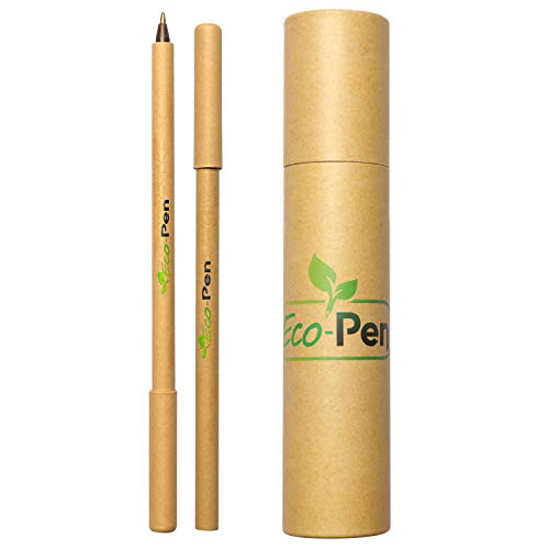 Eco Pen Eco-friendly Pen Set Made from Biodegradable Recycled Cardboard, 0.5mm Medium Ballpoint, Black Ink, Great Gift Pens For School, Office And Home (16 Count)