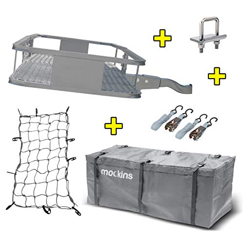 Mockins Gray Hitch Mount Cargo Carrier with Cargo Bag and Net |The Steel Cargo Basket is 60 Long X 20 Wide X 6 Tall with A Hauling Weight of 500 Lbs & A Folding Shank to Preserve Space When Not in Use