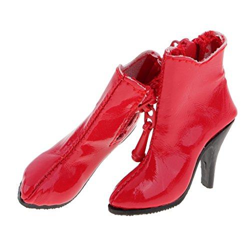 FLAMEER 1 Paar Poppen Schoenen Hoge Hakken PU Laarzen Enkellaarsjes voor 12 Inch Vrouwelijk Actiefiguur - Rood