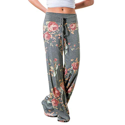 WOCACHI Leggings for Womens, Women Fashion Print Floral Trousers Ladies Winter Casual Wide Legs Yoga Pants 2021 Fall Deals Holidays Vacation Summer July 4th