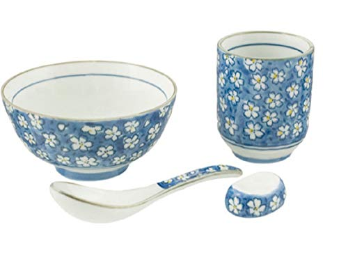 "4 Piece Japanese Rice Bowl Set Includes 4.5"" Bowl, Spoon, Chopstick Rest and Tea Cup (Flowers on Blue)"