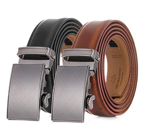 """2 Pack - Mens Genuine Leather Ratchet Dress Belt, with Automatic Buckle - Radiant Ore - Deep Charcoal & Burnt Umber - Adjustable from 38"""" to 54"""" Waist"""