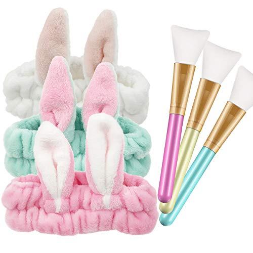 Gesichtsmaske Pinsel,Zuzer 3pcs Silikon Masken Kosmetik Pinsel & 3pcs Haarbänder Stirnband Make Up Haarband Hasenohren Kosmetik Stirnband für Gesicht Waschen Make up