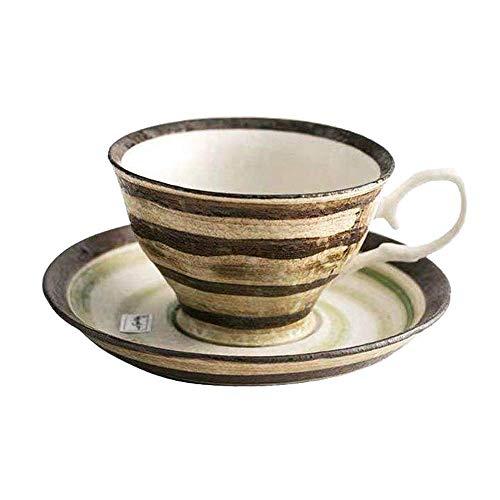 Copa de café de cerámica y platillo conjunto retro espresso café café taza pequeña capacidad para el hogar té con perfumado té caliente cacao leche latte taza apto para familias cafetería hotel restau