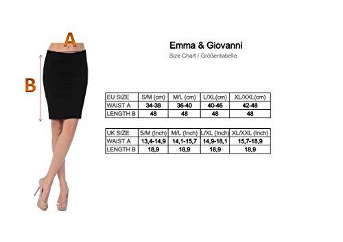 Emma & Giovanni - Corto Elástica Básica Falda - Mujer (Negro, 42-44)