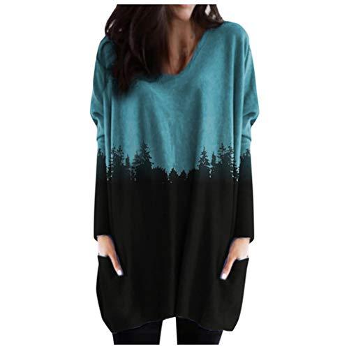 HJFR 2021 Nouveau Mode Femme Blouse Grande taille Automne et Hiver Sweats Pull Manches longues Femme Pullover T-Shirt Sweat Shirt Chemisier Manteau Chemisier décontracté Veste Tunique,Imprimé Montagne