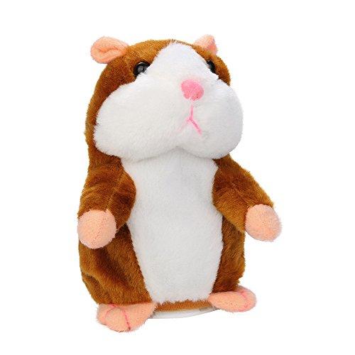 WWricotta Sprechender Hamster Plüsch-Spielzeug Wiederholt was Sie Sagen Mimikry Haustier Elektronische Sprechende Aufzeichnung Stofftier Interaktives Spielzeug für Baby Kinder (Khaki)