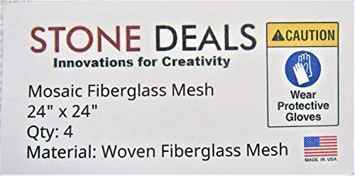 """Stone Deals Mosaic Mesh for Back Mounted Tile, 24"""" Wide, 24"""" Long - Pack of 4, Non Sticky"""
