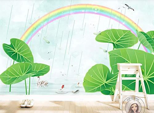 Papel Pintado de Pared Empapelado Tela de seda Pegatina Mural 3D Hoja de loto rana arcoiris Decorativos Wallpaper Extraíble Impermeable Decoración de Hogar Cocina Salón Moderna TV Decor