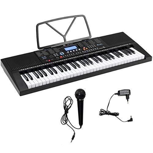 COSTWAY 61 Tastatur Elektrisches Keyboard mit Notenständer Mikrofon, 300 Klangfarben, 300 Rhythmen, 30 Demo, Digital Piano für Kinder Anfänger