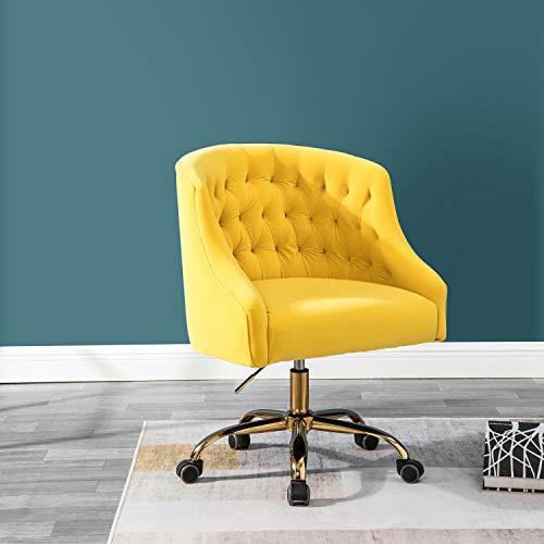 Velvet Tufted Velvet Upholstery Task Chair for Home Office - Yellow