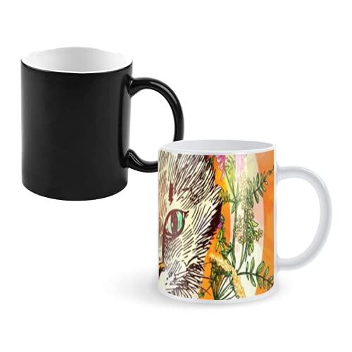 Taza que cambia de color Taza de café mágica,illustration with cat hand drawn vector background with wildflowers and crystall boho style drawing,tazas grandes personalizadas Taza de decoloración 11