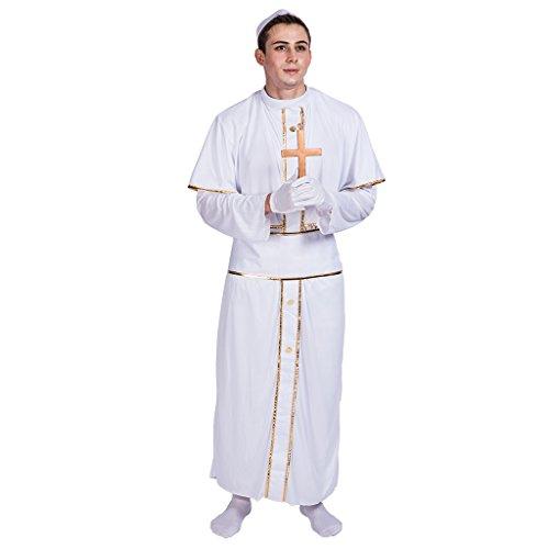EraSpooky Herren Priester Kostüm Kirchenkostüm weiße Papst Pastor Pfarrer Karneval Fasching Verkleidung