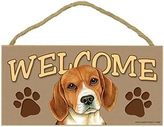 "SJT ENTERPRISES, INC. Beagle Welcome Sign 5"" x 10"" MDF Wood Plaque (SJT61504)"