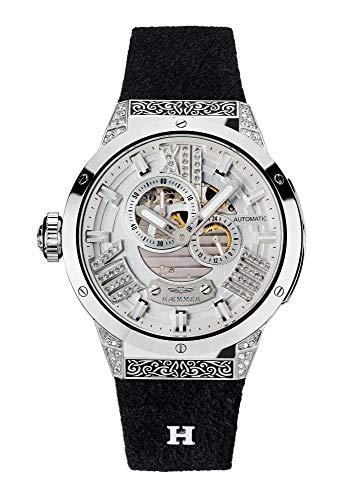 HÆMMER Damen Armbanduhr Analog Automatik mit 20mm Armband aus Kalb-Nubukleder, Silber/Schwarz, GL-200