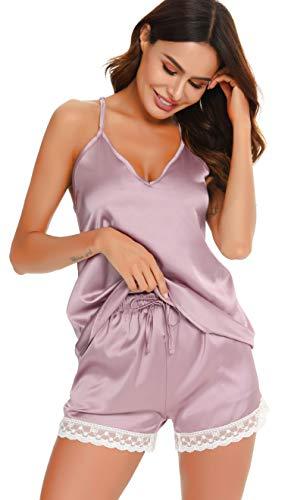 Vlazom Damen Zweiteiliger Schlafanzug Ärmellose Nachthemd Kurz Satin Damen Pyjama mit Spitzen und V-Ausschnitt Sexy Sommer Nachtwäsche Trägertop und Shorts