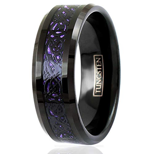 King's Cross Elegant 8mm Black Tungsten Carbide Band Ring with Black Celtic Dragon on Iridescent Violet Faux Carbon Fiber Inlay, Beveled Edges and Comfort Fit Inner Band. (Tungsten (6mm), 8)