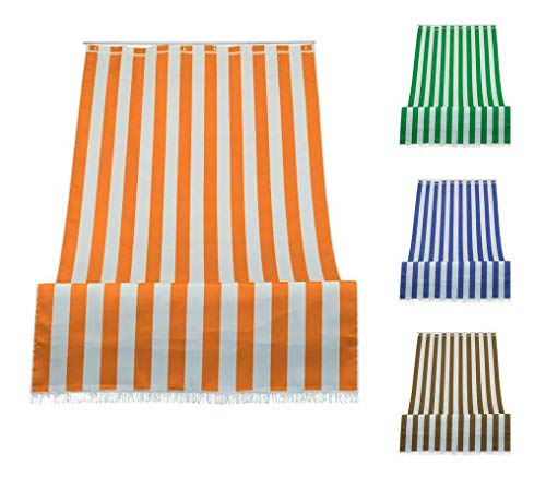 eurostile Sonnensegel mit Streifen für Balkon Veranda oder Terrasse mit Ringen und Haken aus strapazierfähigem Stoff für den Außenbereich, Größe 150 x 250 cm, Farbe Orange Weiß