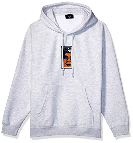 Obey Men's Slim Icon Hooded Sweatshirt, Ash Grey, XL