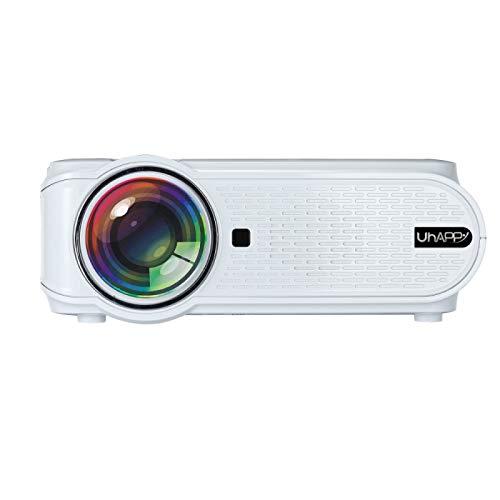 MmanuuFfacturer Sjibol Pantalla LED U90 sincronización móvil de Pantalla 1080P HD Mini proyector con Control Remoto, compatibilidad con USB/SD/HDMI/VGA/AV (Color : Blanco)