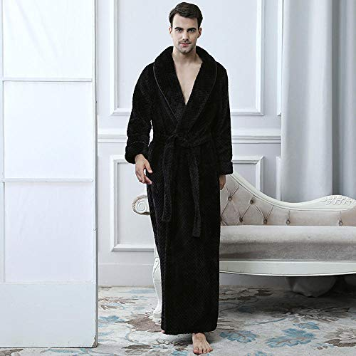 ZIXIYAWEI Heren Dressing Jurk Mens Dressing Jurk Warm Winter Koraal Fleece Kimono Extra Lange Badjas Plaid Flanellen Badjas Nachtjurk