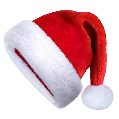 SHareconn Santa Hat for Adults, Big Xmas Holiday Hat with Short Plush and Comfort Liner for Adults Party New Year Christmas Day (Red & White)