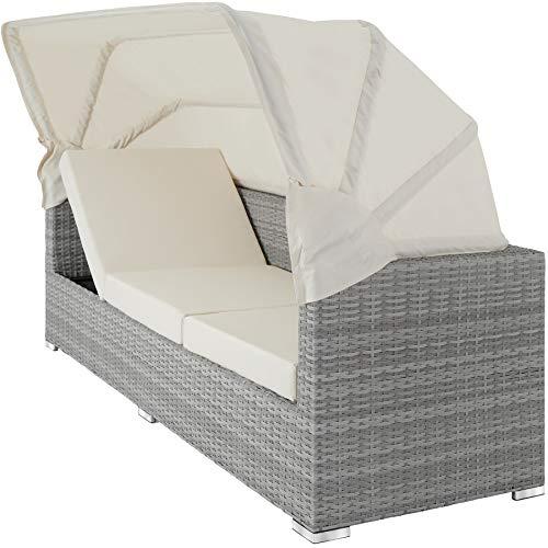 TecTake 800771 Aluminium Poly Rattan Lounge Set, 16-teilig, wetterfest, Garten Sofa mit Sonnendach, Outdoor Sitzgruppe inkl. Kissen und Beistelltisch - Diverse Farben - (Hellgrau | Nr. 403712) - 3