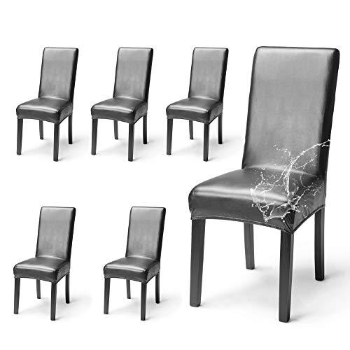 OSVINO 2er/4er Set Stuhlhussen PU Leder Stuhlbezug wasserabweisend Stretch für Haus Büro Restaurant (Schwarz, 6 Stücke)