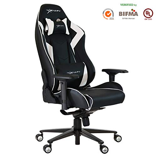 Ewin Gaming Office Chair 4D Adjustable Armrests Memory Foam Recliner Ergonomic High-Back PU Leather Racing Executive Computer Chair Champion Series White