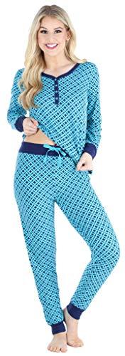 Sleepyheads Damen Pyjama mit V-Ausschnitt Langarm-Loungewear Schlafanzug, Marineblau...