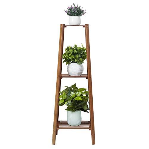 Medla UNHO Bamboo Plant Stands Indoor, 3 Tier Plant Ladder Shelf Tall Plant Rack Flower Pots Holder Display Rack for Home Office