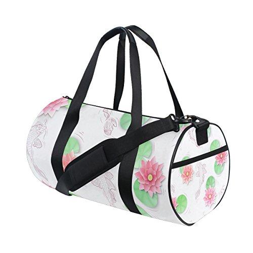 TIZORAX Koi Karpfen und Lotus Papier Blumen Fitnessraum Duffle Bag Drum Tote Reisetasche Rooftop Rack Tasche