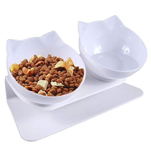 Funmo Cat Bowls, Double Cat Bowl with Raised Stand, 15°Tilted Platform Anti-Slip Pet Feeding Bowl, Detachable Raised Bowls for Cats and Small Dogs Reduce Pets Neck Pain (2 White Cat Bowls)