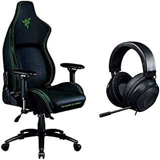 Razer Iskur Black - Ergonomic Gaming Chair with Built-in Lumbar Support - Black Edition with Razer Kraken Gaming Headset -...