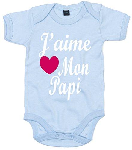 Edward Sinclair J'aime Mon Papi' 68-80 Bleu Ciel bébé Bodysuit