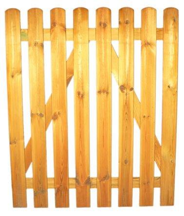 StaketenTür 'Standard' 100x120/120 cm - gerade – kdi / V2A Edelstahl Schrauben verschraubt - aus frischem Holz gehobelt – gerade Ausführung - kesseldruckimprägniert