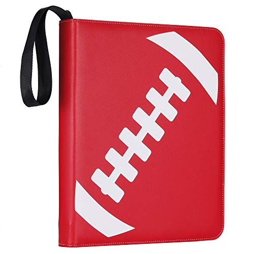 D DACCKIT Football Binder Compatible with Trading Cards - Holds Up to 540 Cards, Sport Cards Collectors Album with 30 Premium 9-Pocket Pages