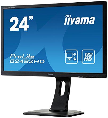 iiyama ProLite B2482HD-B1 61cm (24 Zoll) LED-Monitor Full-HD (VGA, DVI, Höhenverstellung, Pivot) schwarz