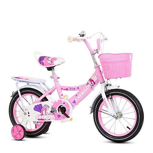 Wisess Bici per Bambini, 2-5-8-13 Anni, Bambine Biciclette con Cestello, Campana, Fiocchi sul Manubrio E Ruote da Allenamento, Rosa,16inch