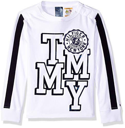 Tommy Hilfiger Boys' Adaptive Long Sleeve T Shirt with Touch Fastener Closure, classic white Small