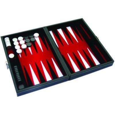 Backgammon vinyle noir et rouge magnétique (17 x 23 cm plié)