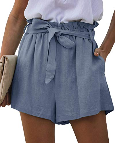 ReachMe Womens Casual Paperbag Waist Shorts with Pockets Ruffle Elastic Tie Waist Summer Shorts(Blue Grey,M)